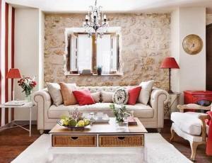 Modern Living Room with Stone Veneer image