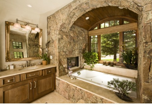 Rustic Fieldstone in traditional bathroom image